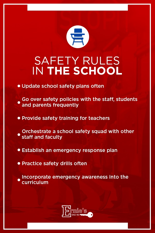 list of safety rules in school